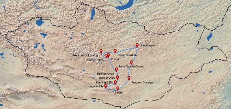 Mongolei-Tourenverlauf